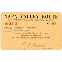 Napa Valley Route Pass (San Francisco, Napa & Calistoga Railway)