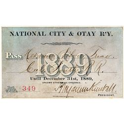 National City & Otay Railway Annual Pass (1889)