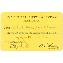 National City & Otay Railway Annual Pass (1903)