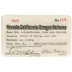 Nevada California Oregon Railway Pass (1925)
