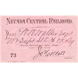 Nevada Central Railroad Pass (1881)