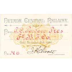 Nevada Central Railway Pass (1885) Issued to Montana Indian Trader TC Power