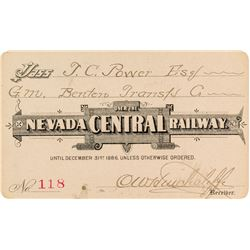 Nevada Central Railway Pass (1886) Issued to Montana Indian Trader TC Power