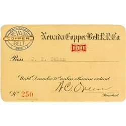 Nevada Copper Belt Railroad Company Pass (1911)