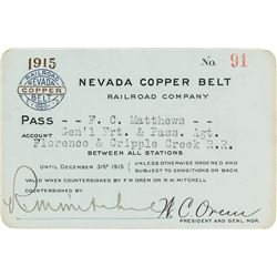Nevada Copper Belt Railroad Company Pass (1915)