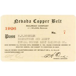 Nevada Copper Belt Railroad Company Pass (1925)