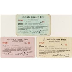 Nevada Copper Belt Railroad Company Pass Trio: 1925, 1928, 1932