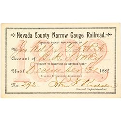 Nevada County Narrow Gauge Railroad Co. Annual Pass (1882)