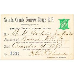 Nevada County Narrow Gauge Railroad Co. Annual Pass (1890)