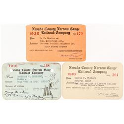 Nevada County Narrow Gauge Railroad Co. Annual Passes