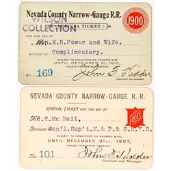 Nevada County Narrow Gauge Railroad Co. Annual Passes (1897 & 1900)
