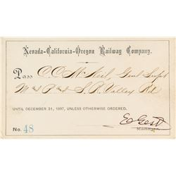 Nevada-California-Oregon Railway Company Pass (1897)