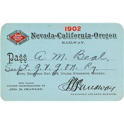 Nevada-California-Oregon Railway Company Pass (1902)
