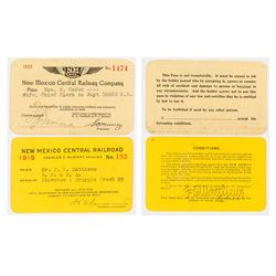 New Mexico Central Railroad Passes (1915 & 1922)