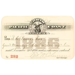 North Pacific Coast Railroad Annual Pass (1886) to Montana Indian Trader