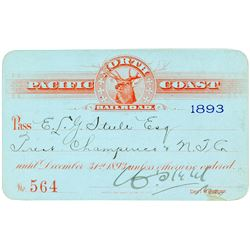 North Pacific Coast Railroad Annual Pass (1893)