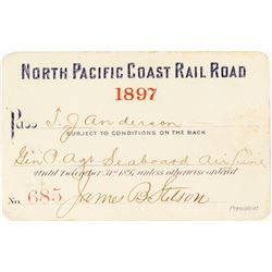 North Pacific Coast Railroad Annual Pass (1897) Signed by James B. Stetson