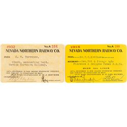 Nevada Northern Railway Company Passes: 1915 & 1932