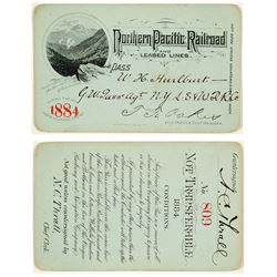 Northern Pacific Railroad Annual Pass (1884) (Yellowstone Pictorial)
