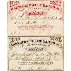 Northern Pacific Railroad Annual Passes (1876 & 1877)