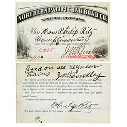 Northern Pacific Railroad- Western Divisions- Annual Pass (1884) (firearm pictorial)