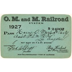 "O.M. & M. Railroad (""One Man & a Mule"") Annual Pass (1927)"