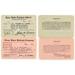 Ocean Shore Railroad Company Annual Passes (1915 & 1920)