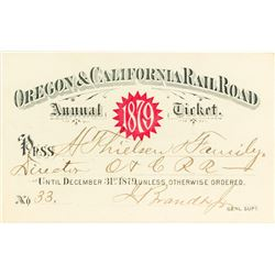 Oregon & California Railroad Annual Pass (1879) Issued to Director