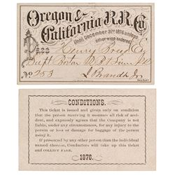 Oregon & California Railroad Company Annual Pass (1876)