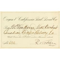 Oregon & California Railroad Company Annual Pass (1885)