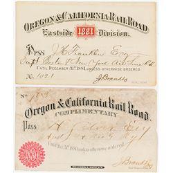 Oregon & California Railroad Company Annual Passes (1880 & 1881)
