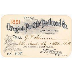 Oregon Pacific Railroad Company Annual Pass (1891)
