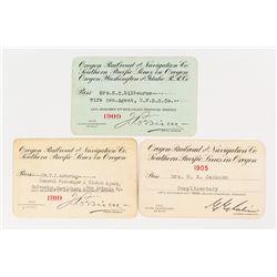 Oregon Railroad & Navigation Co. Pass Trio (Steamer & Railroad)