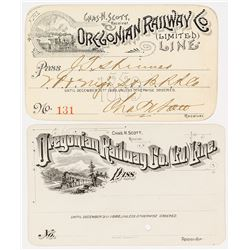 Oregonian Railway Co. Annual Passes (1886 & 1889)