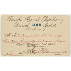 Pacific Coast Railway Annual Pass (1886) Issued to Montana Indian Trader/ US Senator