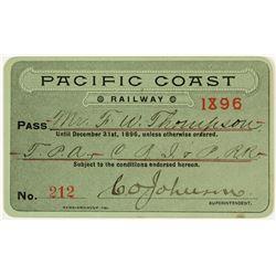 Pacific Coast Railway Annual Pass (1896)
