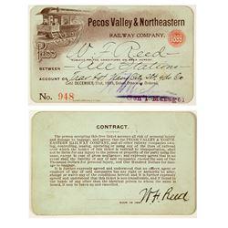 Pecos Valley & Northeastern Railway Co. Annual Pass (1899)