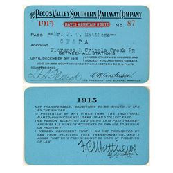 Pecos Valley Southern Railway Company Annual Pass (1915)