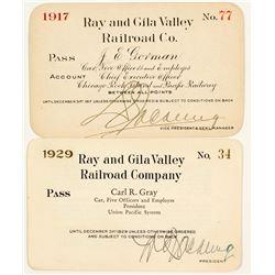 Ray & Gila Valley Railroad Company Annual Passes (Copper Mining)