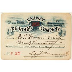 Redondo Railway Co. Annual Pass (1893)