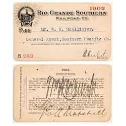 Rio Grande Southern Railroad Co. Annual Pass (1902)