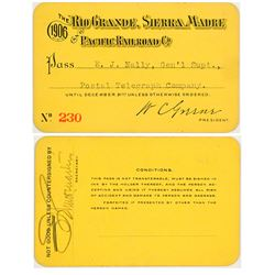 Rio Grande, Sierra Madre & Pacific Railroad Annual Pass (1906) (Mexican Mining)