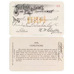 Salt Lake & Los Angeles Railway Co. Annual Pass (1894)