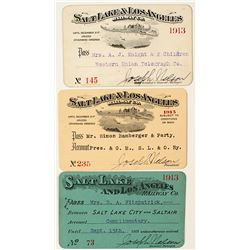 Salt Lake & Los Angeles Railway Co. Annual Pass Trio (1913-1915)