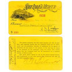 Salt Lake & Mercur Railroad Company Annual Pass (1908) (Gold Mine)