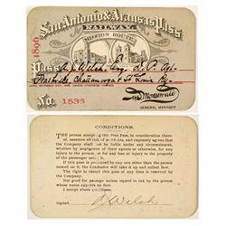 San Antonio & Aransas Pass Railway Co. Annual Pass (1896)