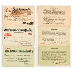 San Antonio & Aransas Pass Railway Co. Annual Passes (3)