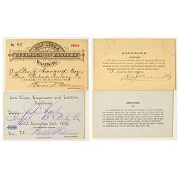 San Diego, Cuyamaca & Eastern Railroad Annual Passes (1891 & 1893)
