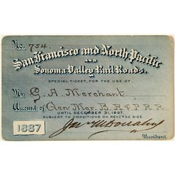 San Francisco & North Pacific and Sonoma Valley Railroads Annual Pass (1887)