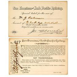 San Francisco & North Pacific Railway Annual Pass (1889)